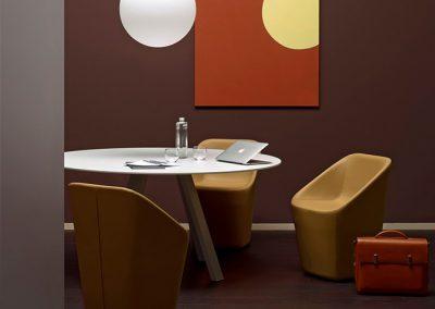 ARKI eettafel, rond blad, 120 cm, meubellinoleum