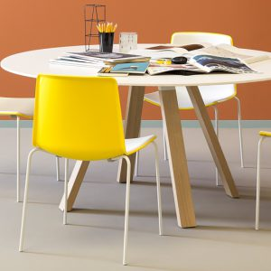 rond tafelblad, 21 mm berken multiplex, rond, 110 cm diameter, HPL Fenix wit